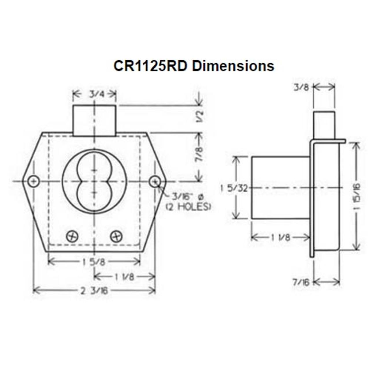 Olympus CR1125RD-VH-26D Cabinet Lock Corbin Russwin Removable Core in Satin Chrome