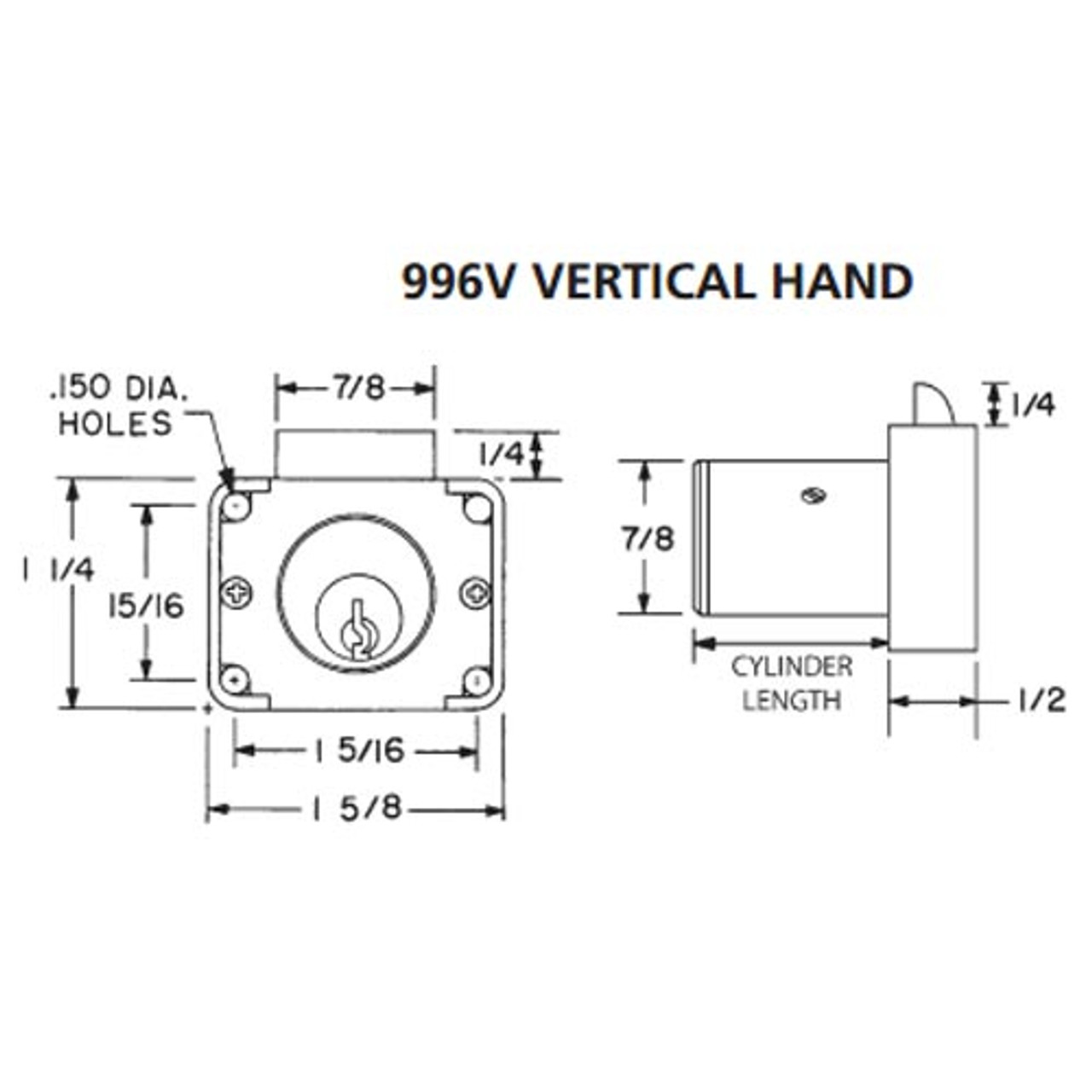 Olympus 996V-VH-KA4T3-26D-7/8 R Series Vertical Handing Cabinet Drawer Latch Lock in Satin Chrome