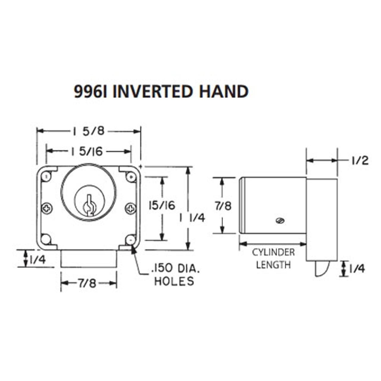 Olympus 996I-IH-KA4T2-26D-7/8 R Series Inverted Handing Cabinet Drawer Latch Lock in Satin Chrome