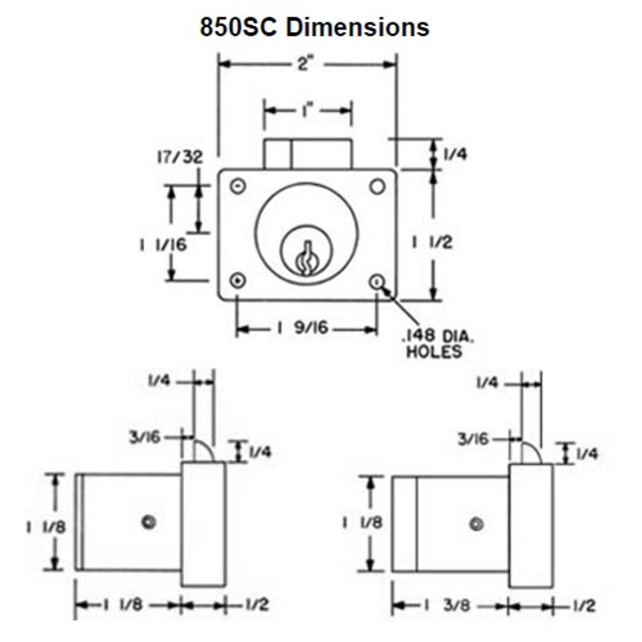 Olympus 850S-KD-26D-1-3/8 Schlage C Keyway Deadlatching Drawer Lock in Satin Chrome