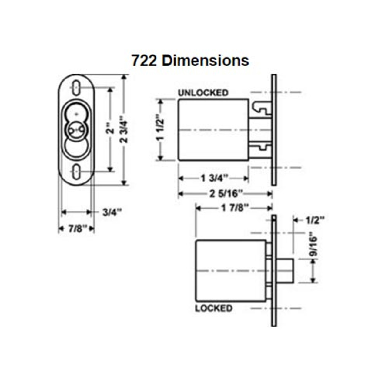 Olympus 722S-TBM-26D Cabinet IC Core Sliding Door Push Lock with Through Bolt Mount in Satin Chrome