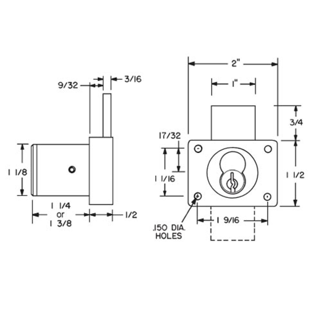 """Olympus 721DW-10B Cabinet Drawer Lock for Removable Core 1-1/4"""" Barrel in Oil Rubbed Bronze"""
