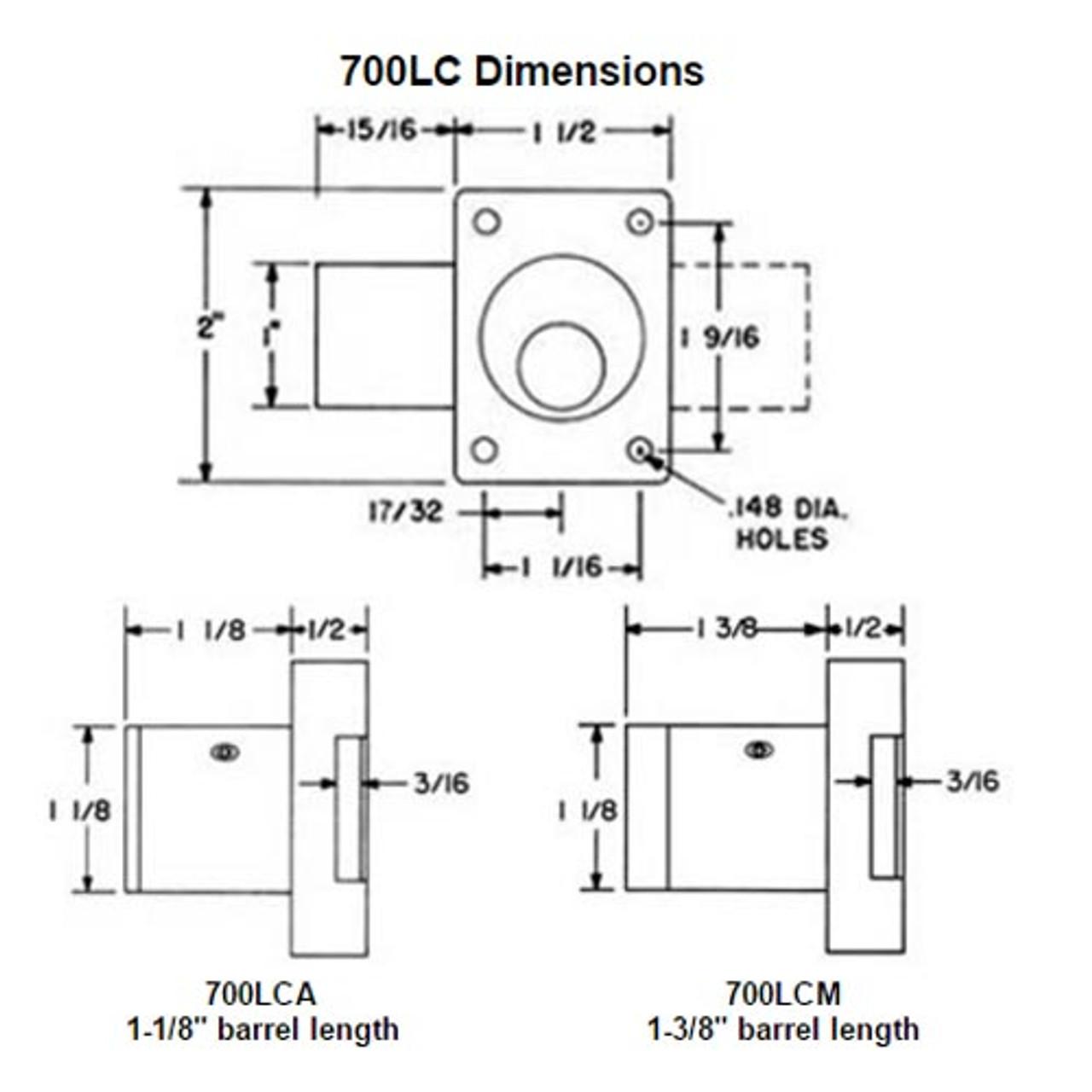 Olympus 700LCA-US3-1-1/8 Less Cylinder Cabinet Door Locks in Bright Brass