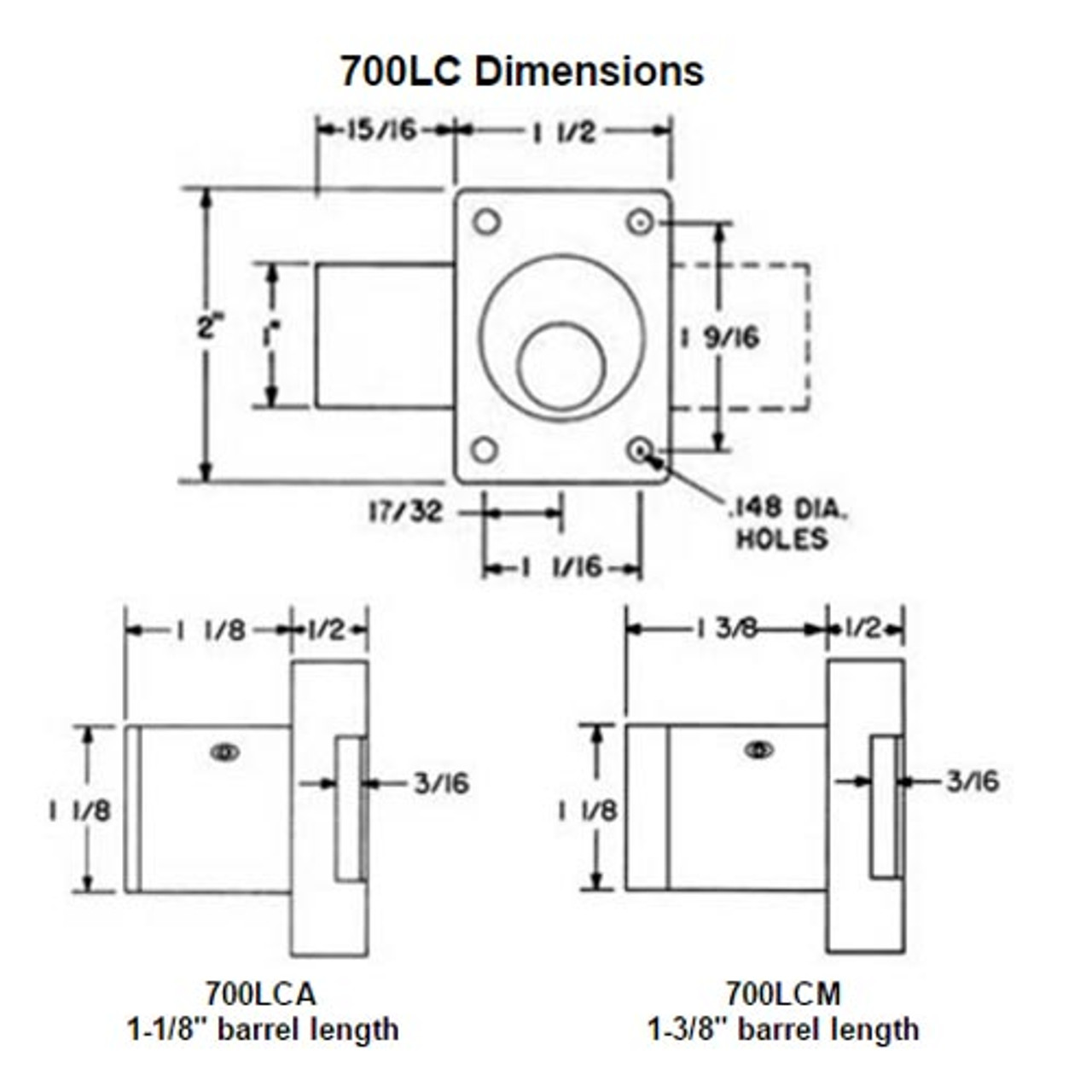 Olympus 700LCA-26D-1-1/8 Less Cylinder Cabinet Door Locks in Satin Chrome