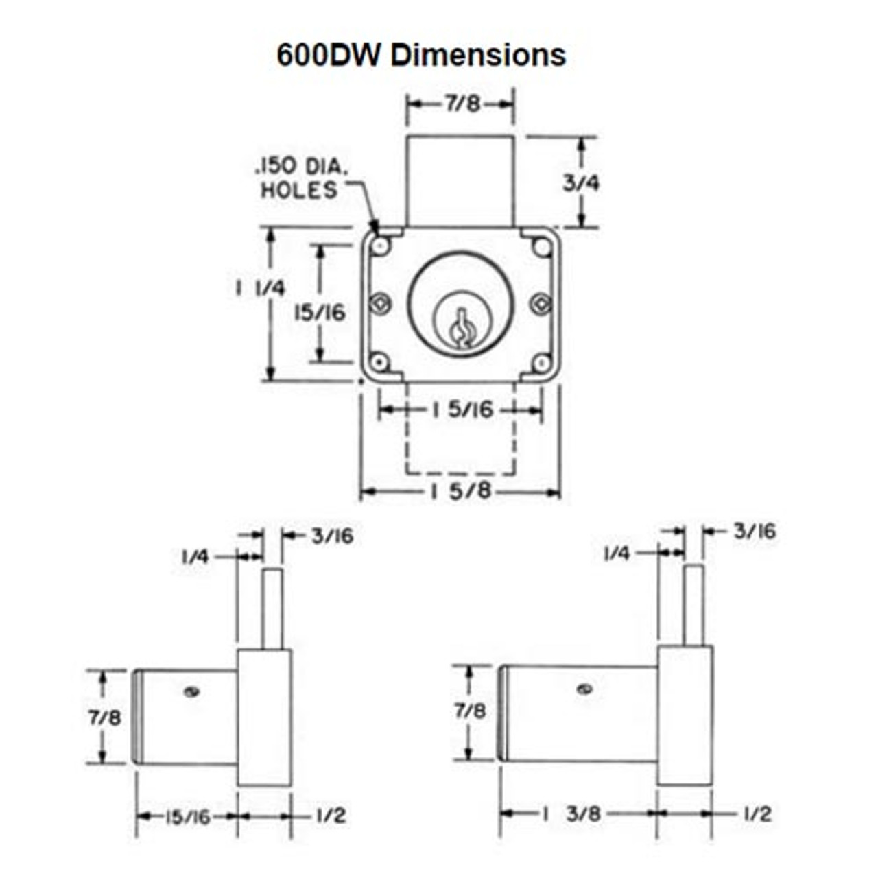 Olympus 600DW-KD-US4-7/8 R Series Drawer Deadbolt Cabinet Locks in Satin Brass