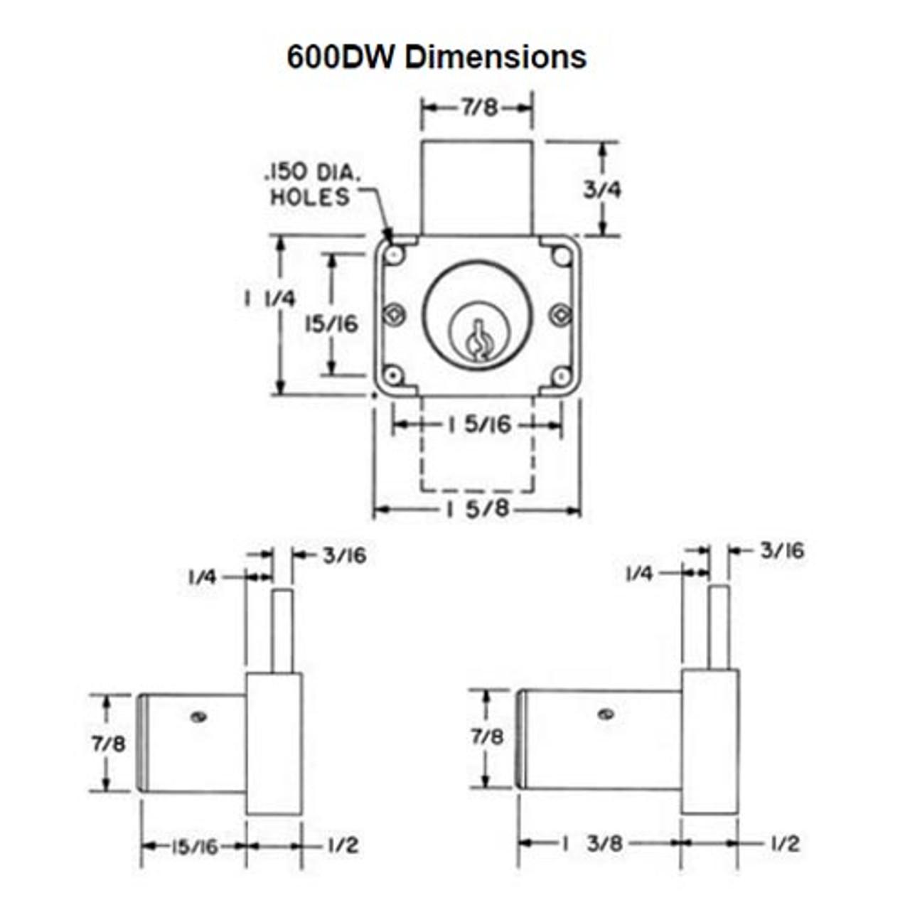 Olympus 600DW-KA4T2-26D-1-3/8 R Series Drawer Deadbolt Cabinet Locks in Satin Chrome