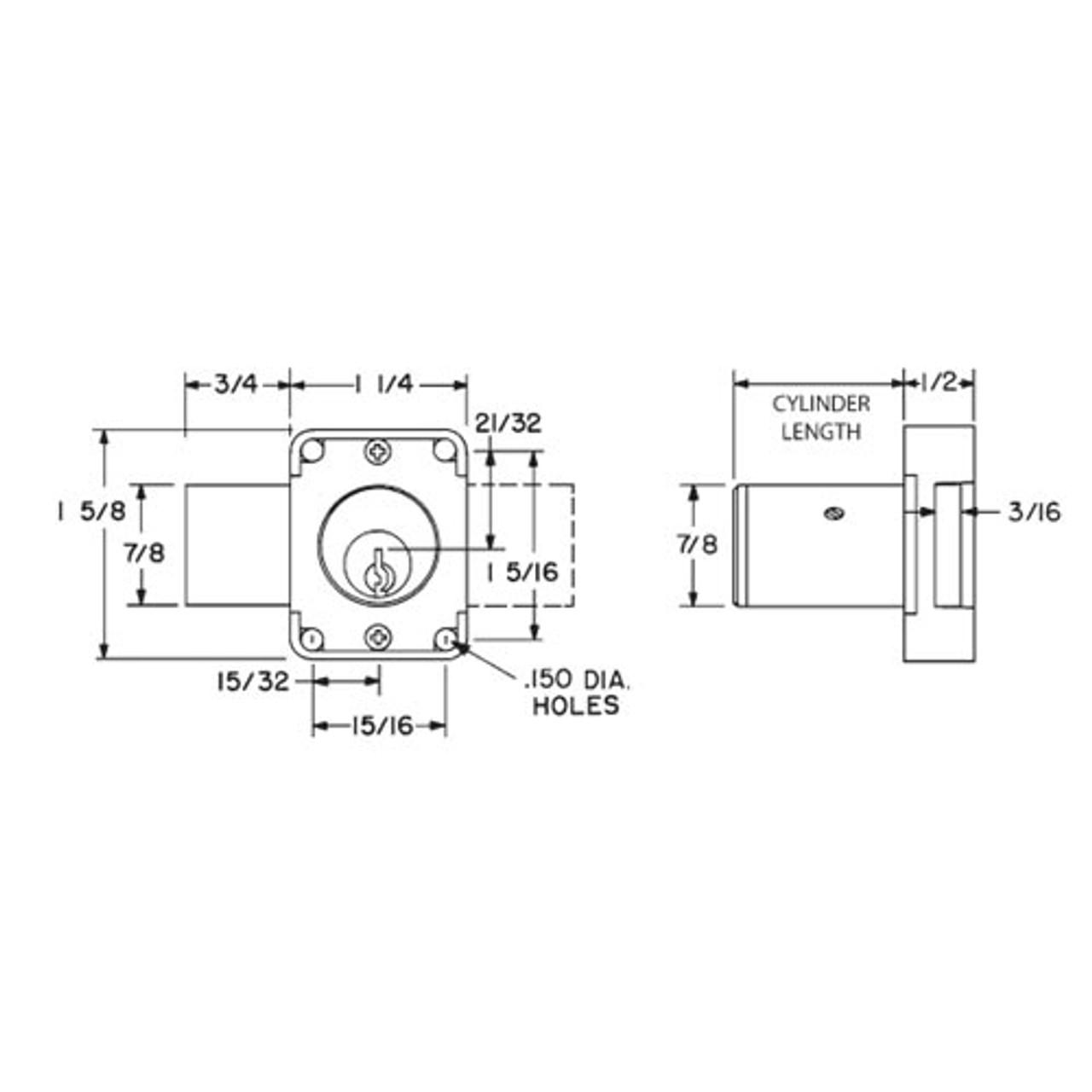 Olympus 100DR-KA107-26D-7/8 N Series Door Deadbolt Cabinet Locks in Satin Chrome