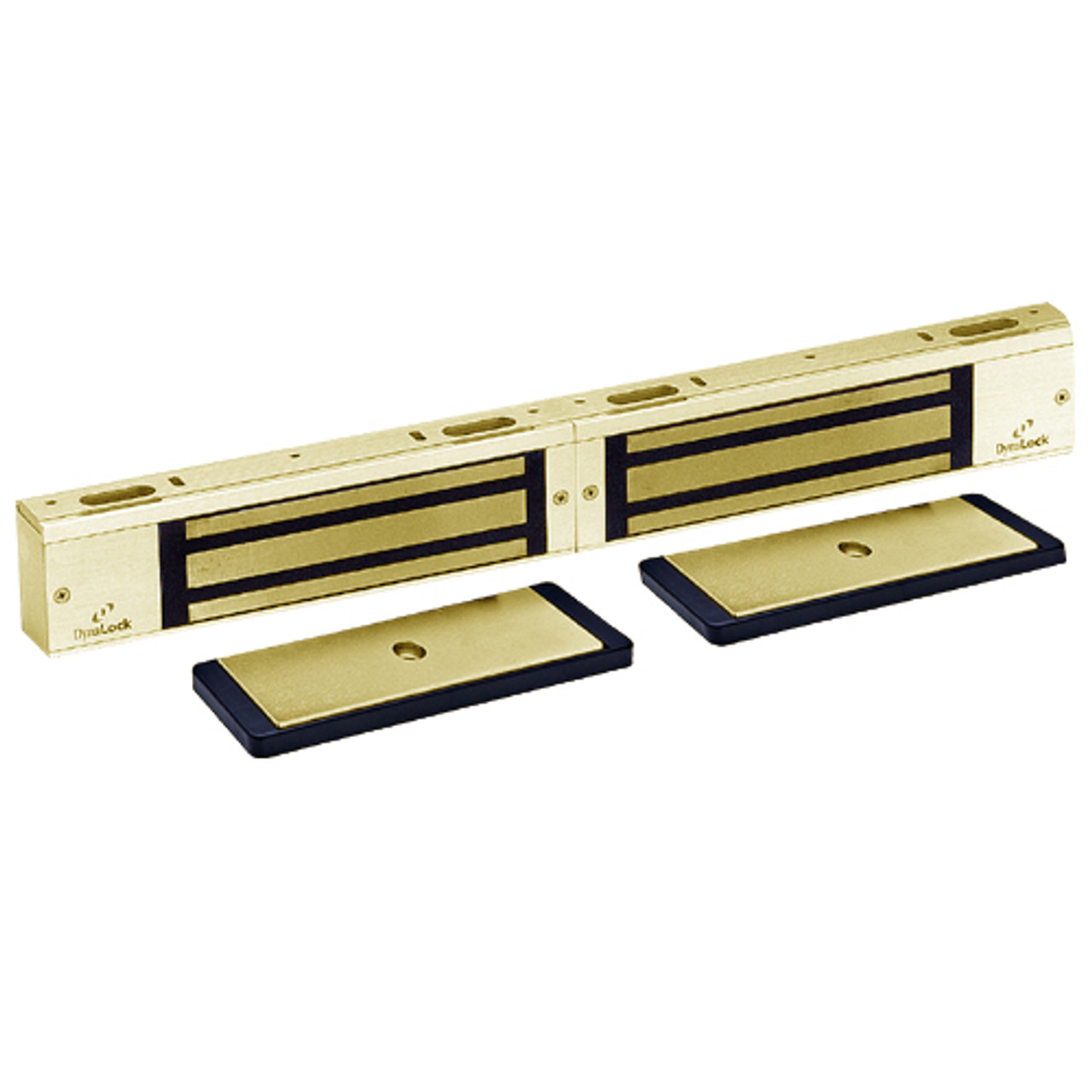 3002TJ32-US3-HSM2 DynaLock 3000 Series 1500 LBs Double Electromagnetic Lock for Inswing Door with HSM in Bright Brass