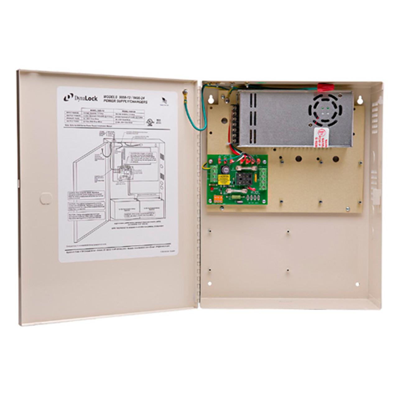 5600-12-KLC DynaLock Multi Zone Heavy Duty 12 VDC Power Supply with Key Locked Cover