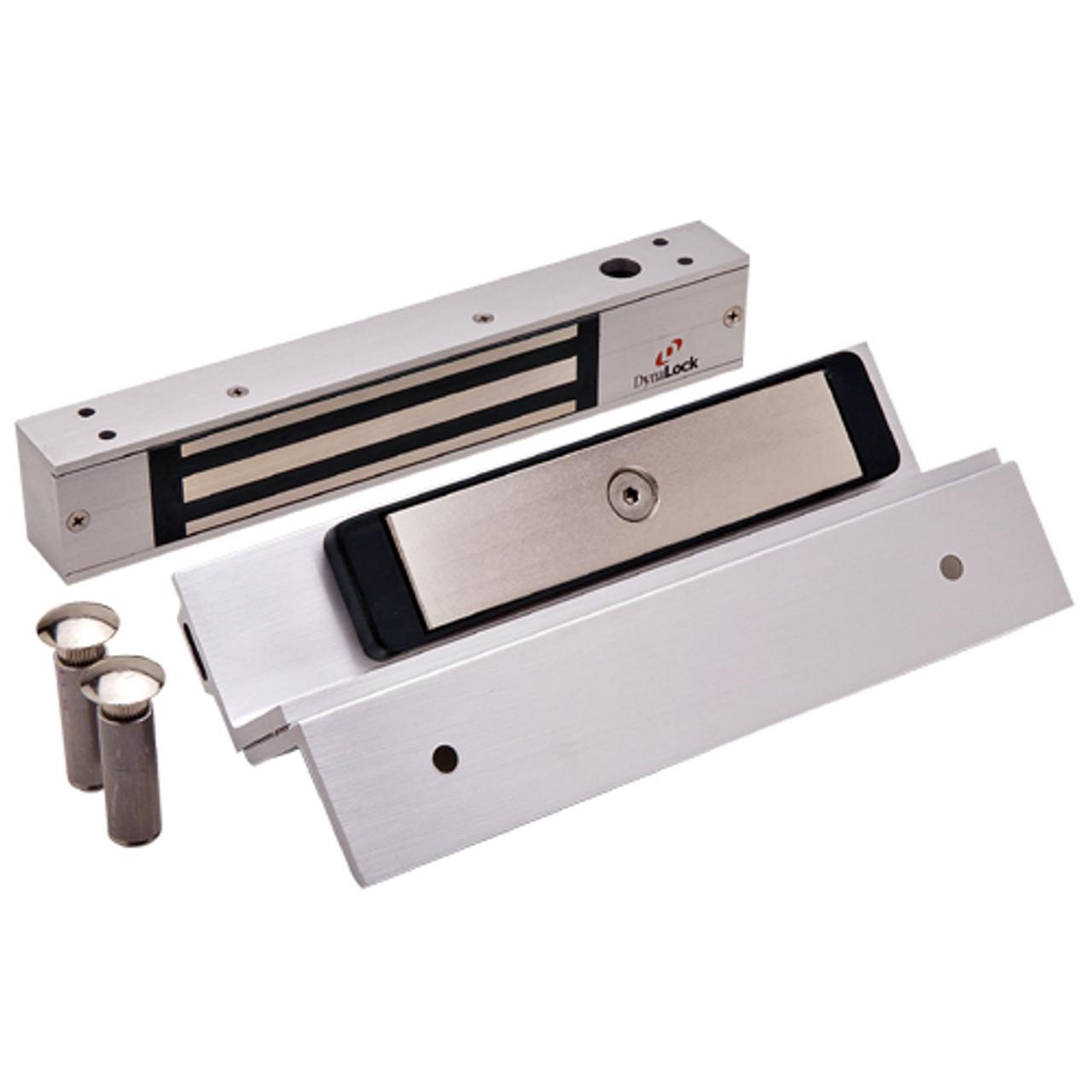 2511TJ-US28-DSM DynaLock 2500 Series 650 LB Mini-Mag Single Electromagnetic Lock for Inswing Door with Door Status Switch in Satin Aluminum