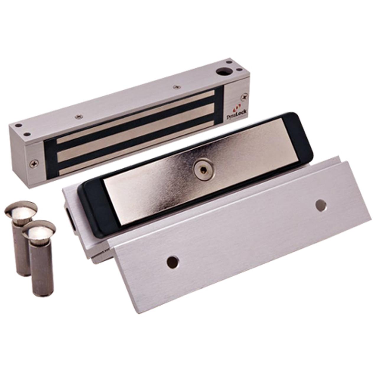 2585-TJ85-US28 DynaLock 2500 Series 650 LB Single Bantam Mini Electromagnetic Lock for Inswing Door in Satin Aluminum