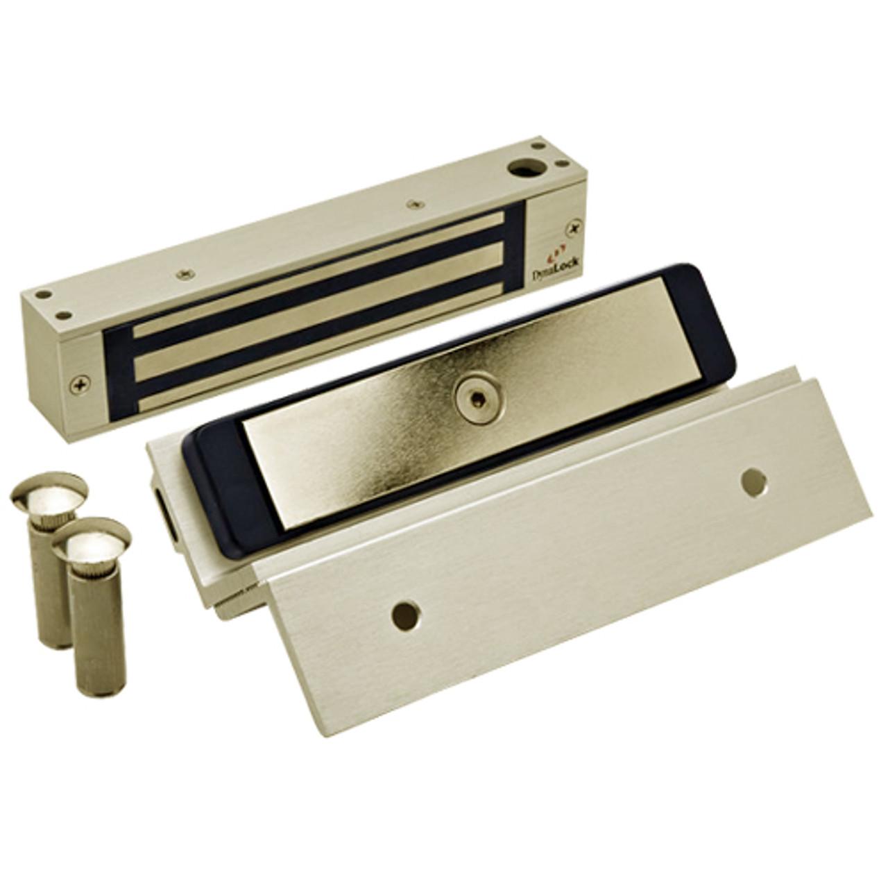 2585-TJ85-US4 DynaLock 2500 Series 650 LB Single Bantam Mini Electromagnetic Lock for Inswing Door in Satin Brass