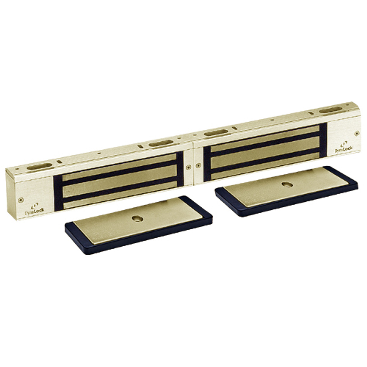 3002-US4-HSM2 DynaLock 3000 Series 1500 LBs Double Electromagnetic Lock for Outswing Door with HSM in Satin Brass
