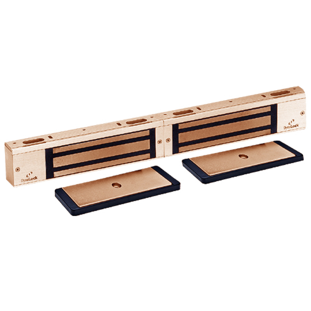 3002-US10-HSM2 DynaLock 3000 Series 1500 LBs Double Electromagnetic Lock for Outswing Door with HSM in Satin Bronze