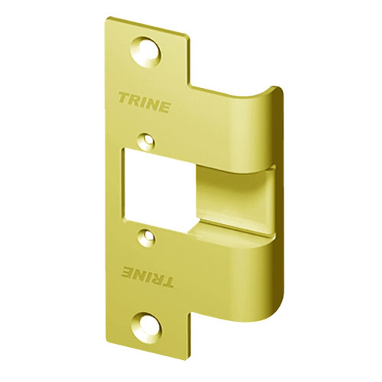 478X-375-RD-US3 Trine 3000 Series Asa Strike Extended Faceplate with Radiused Corners in Bright Brass Finish