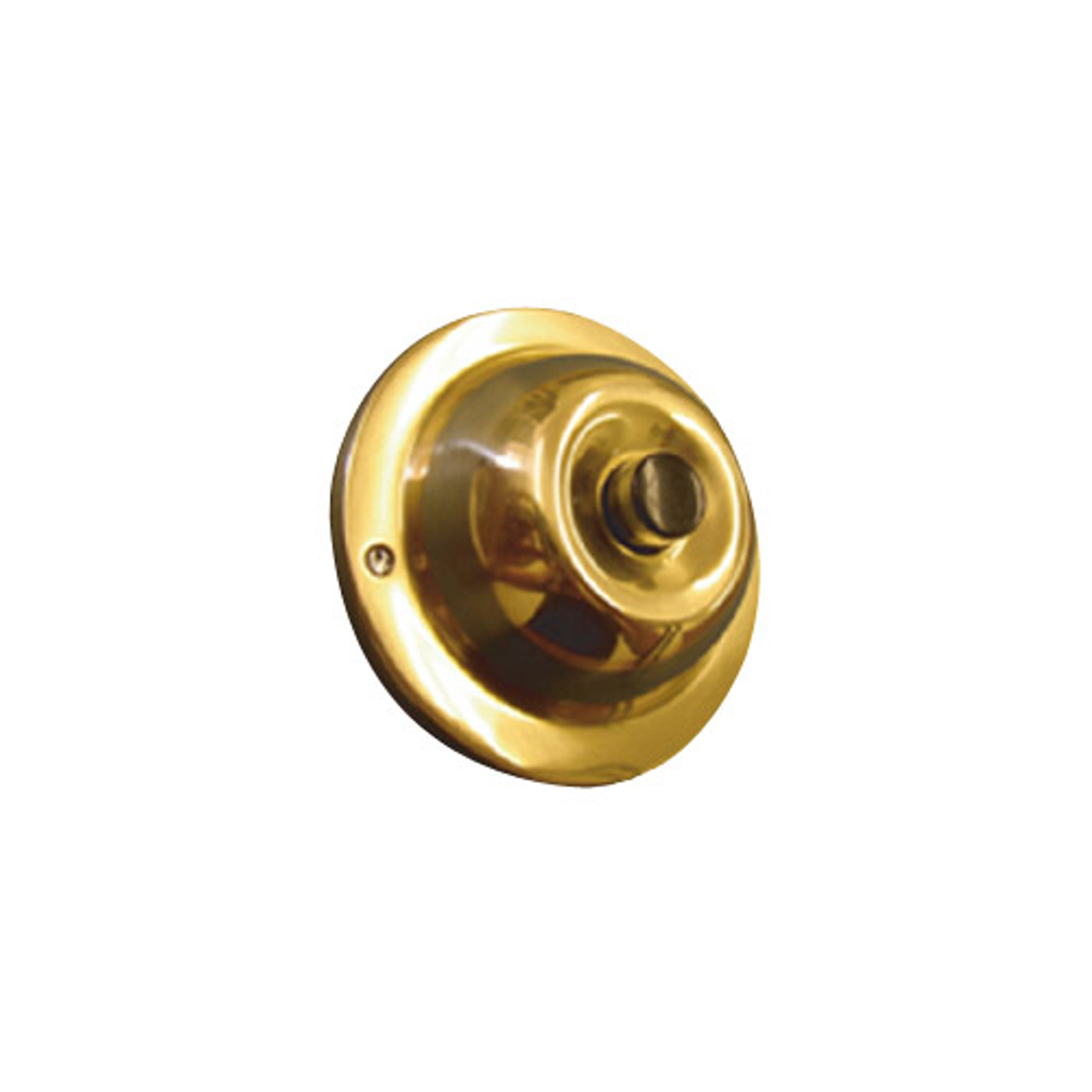 JRP Trine Push Bell Button in Polished Solid Brass with Black Center Finish