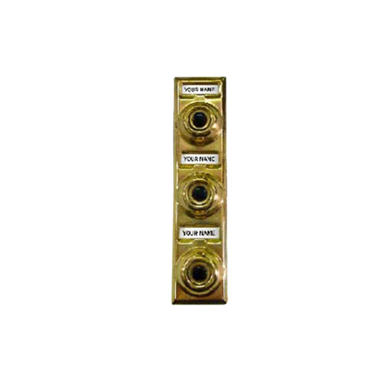 94P Trine Push 3 Button Multi-Family in Polished Solid Brass Finish