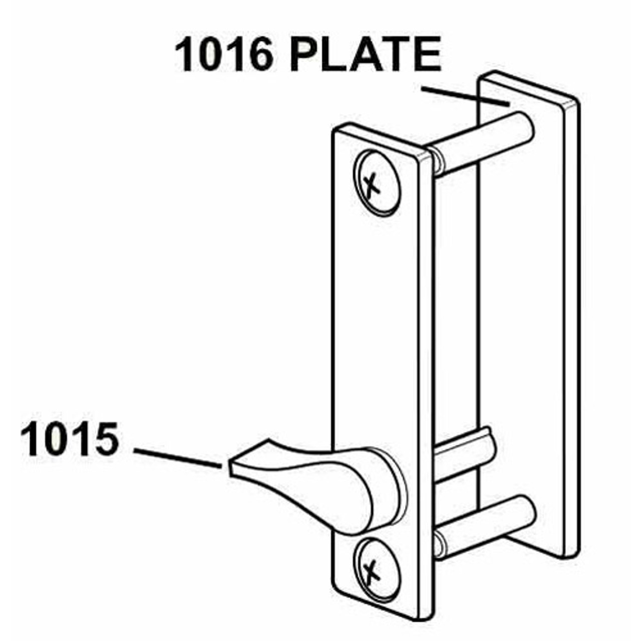 1016-130 Adams Rite Outside Escutcheon Trim in Aluminum