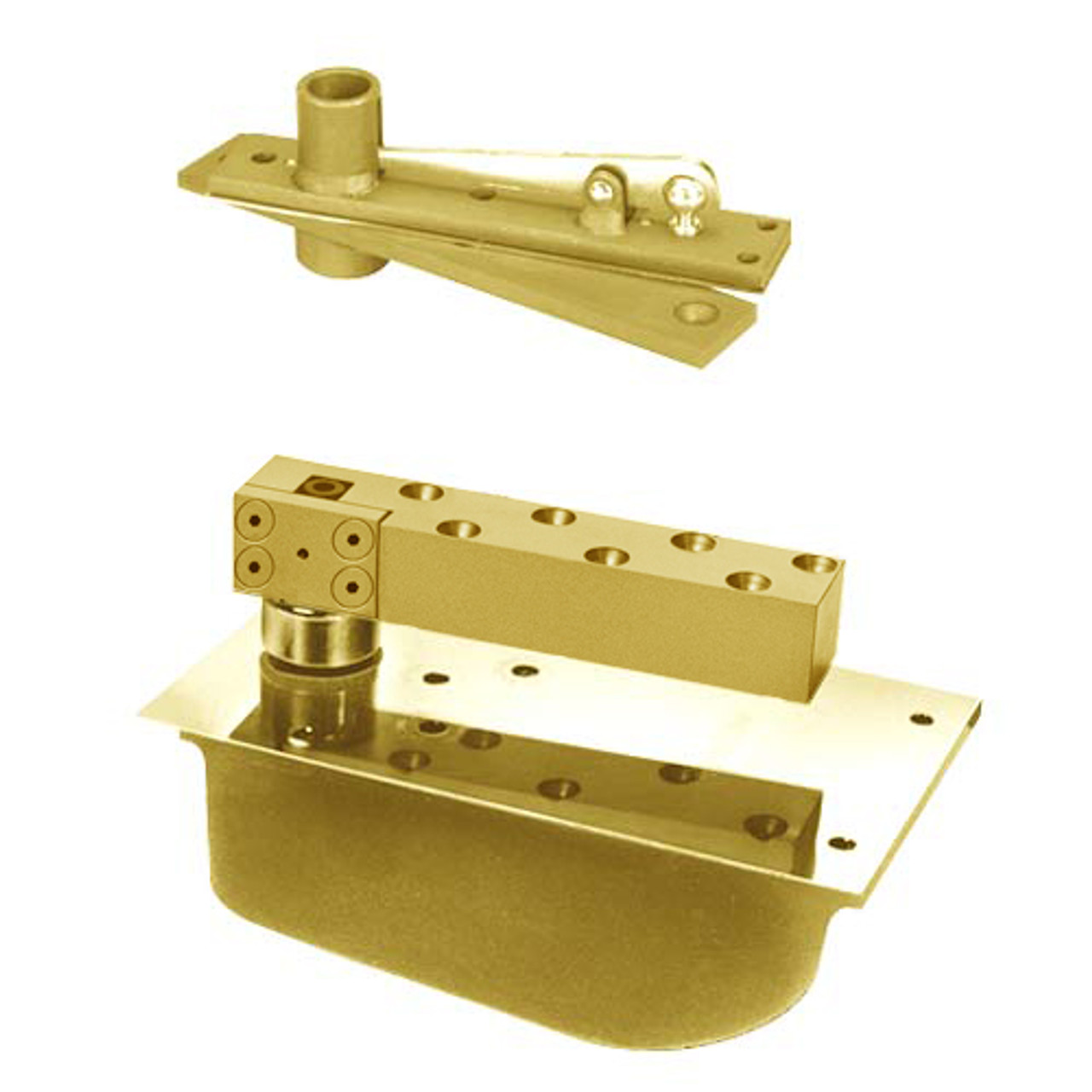 PHH28-90S-587-RH-606 Rixson 28 Series Extra Heavy Duty Single Acting Center Hung Concealed Floor Closer in Satin Brass Finish