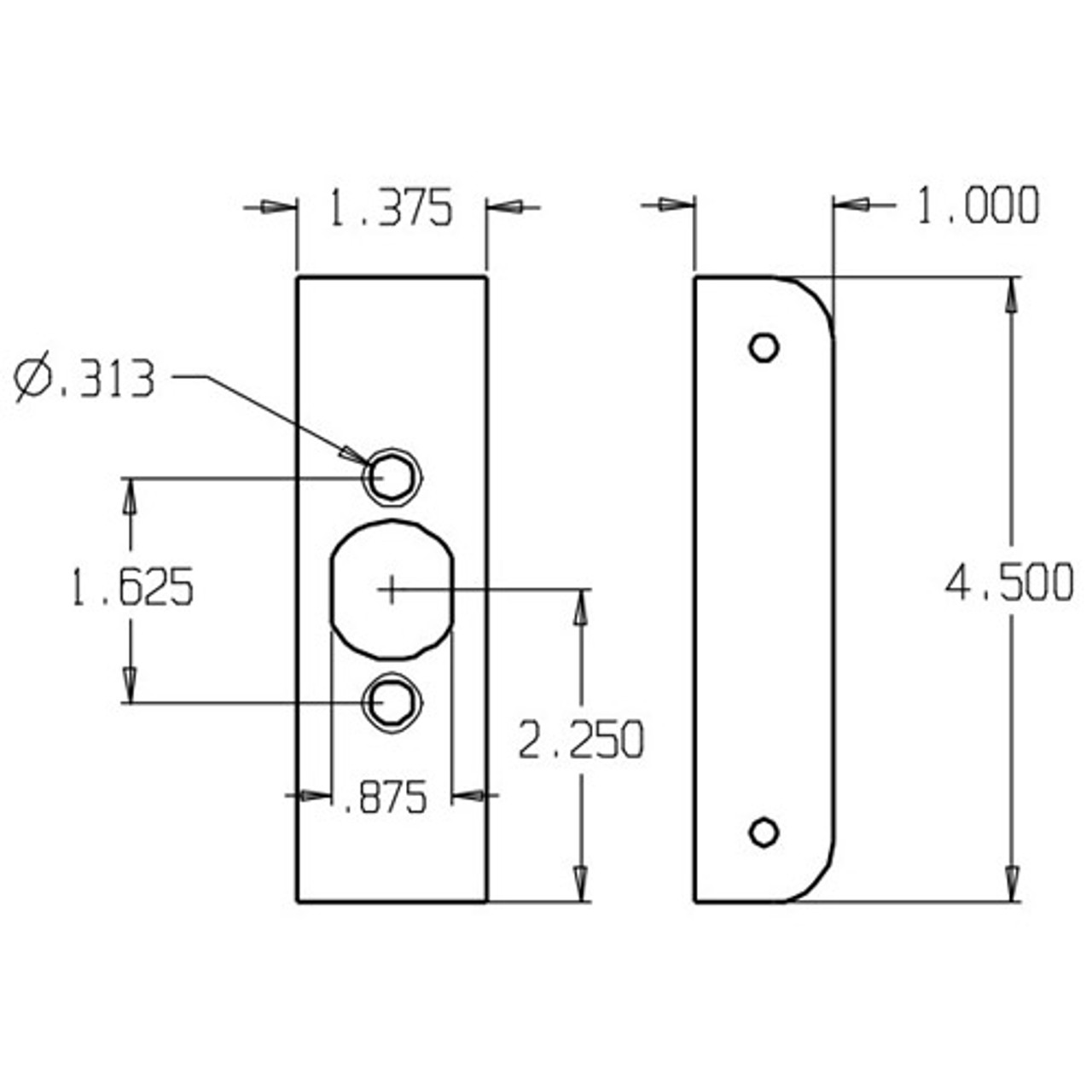 10-AB-FE Don Jo Wrap-Around Plate Dimensional View