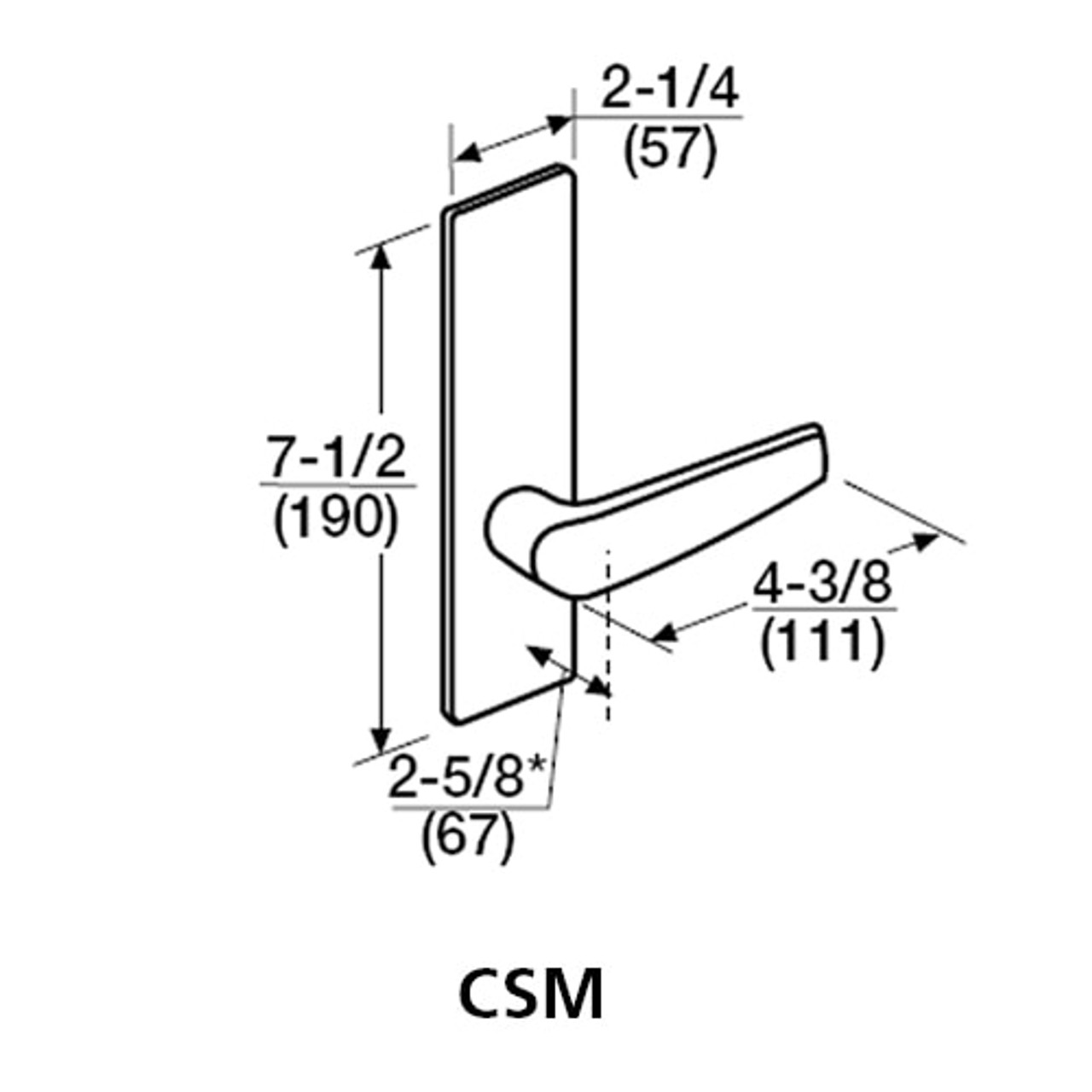 ML2059-CSM-630-CL7 Corbin Russwin ML2000 Series IC 7-Pin Less Core Mortise Security Storeroom Locksets with Citation Lever in Satin Stainless