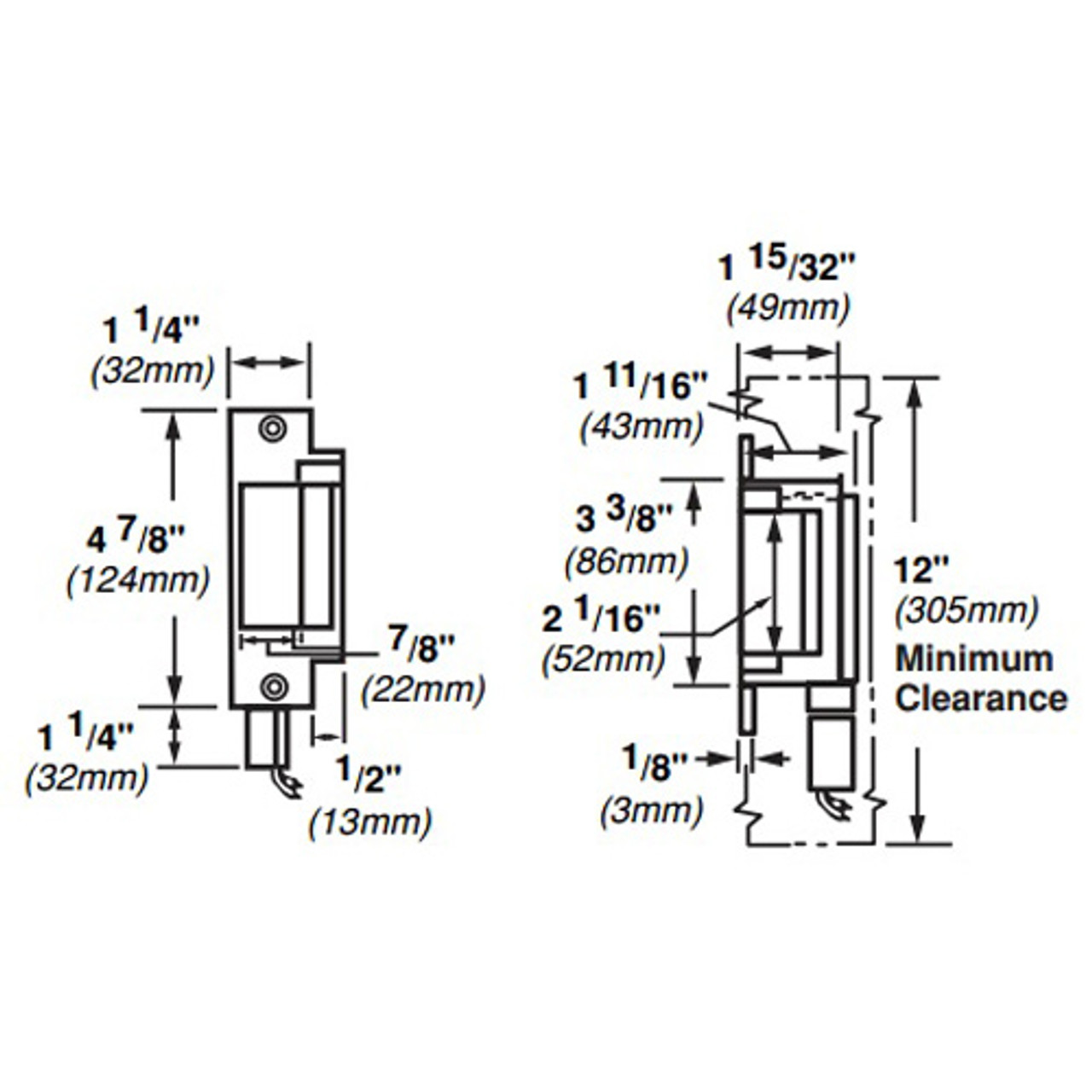 6211-FS-DS-LC-12VDC-US32 Von Duprin Electric Strike for Mortise or Cylindrical Devices in Bright Stainless Steel Finish