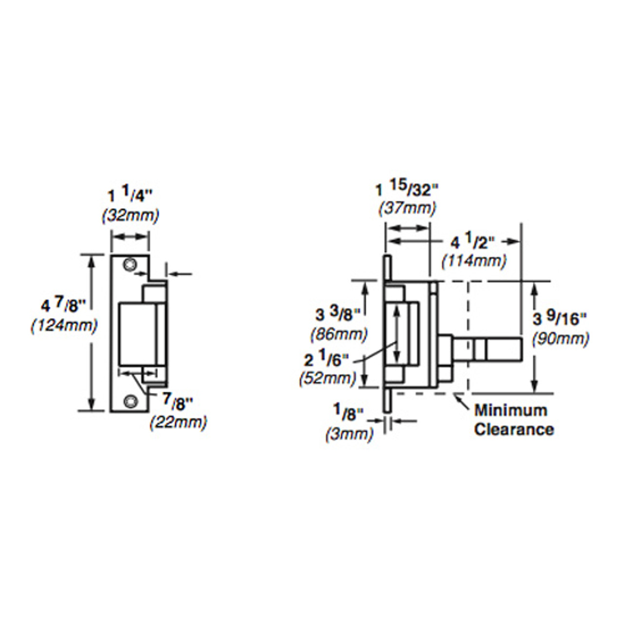 6211WF-DS-12VDC-US3 Von Duprin Electric Strike for Mortise or Cylindrical Devices in Bright Brass Finish
