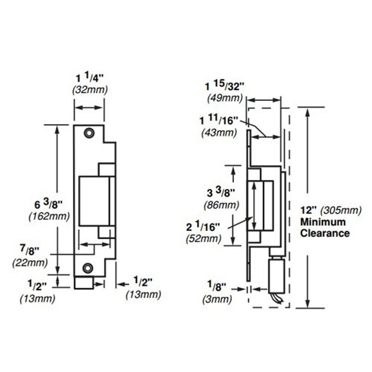 6212-FS-DS-12VDC-US32D Von Duprin Electric Strike for Mortise or Cylindrical Locksets in Satin Stainless Steel Finish