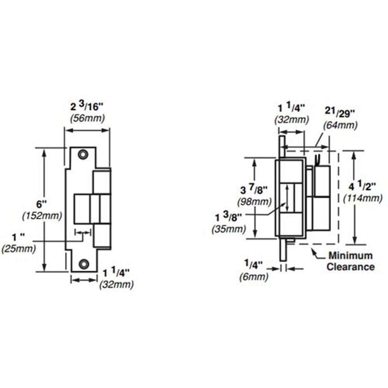 6213-FS-DS-12VDC-US4 Von Duprin Electric Strike for Mortise or Cylindrical Locksets in Satin Brass Finish