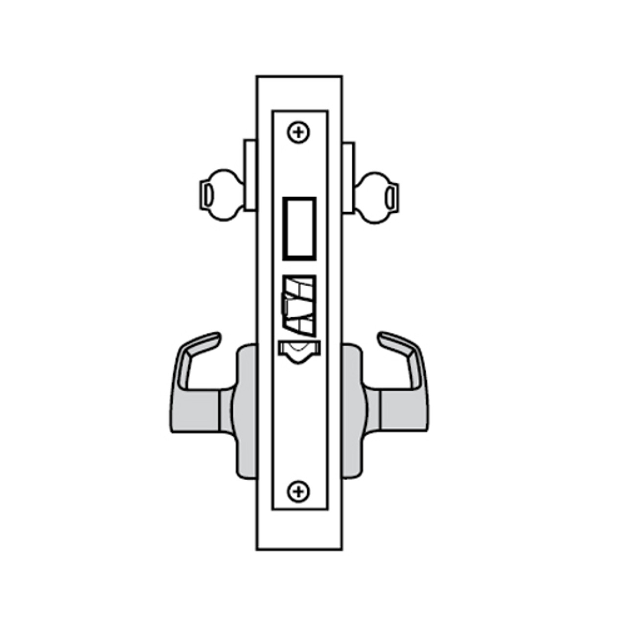 ML2092-NSP-625-M31 Corbin Russwin ML2000 Series Mortise Security Institution or Utility Trim Pack with Newport Lever with Deadbolt in Bright Chrome