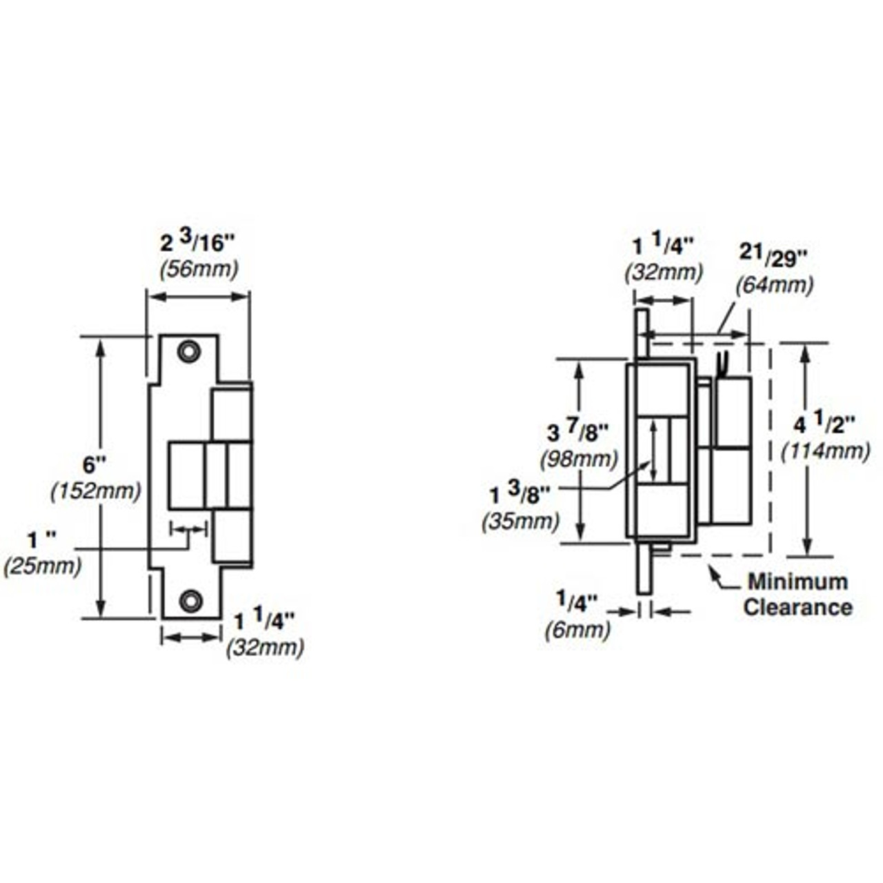 6213-FS-DS-LC-12VDC-US3 Von Duprin Electric Strike for Mortise or Cylindrical Locksets in Bright Brass Finish