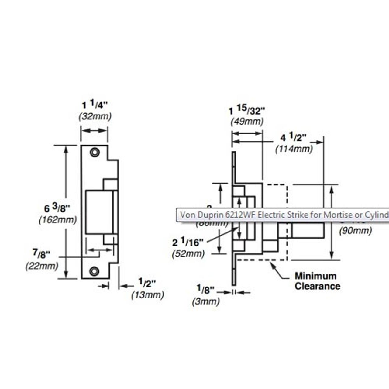 6212WF-12VDC-US4 Von Duprin Electric Strike for Mortise or Cylindrical Locksets in Satin Brass Finish