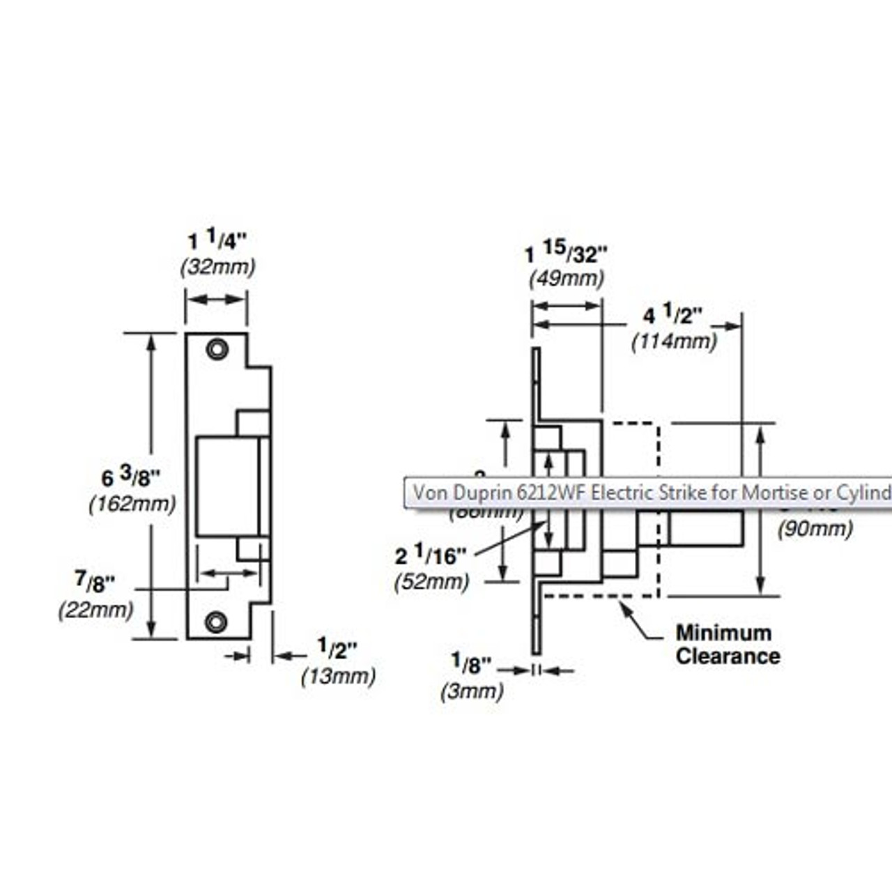 6212WF-24VDC-US32 Von Duprin Electric Strike for Mortise or Cylindrical Locksets in Bright Stainless Steel Finish