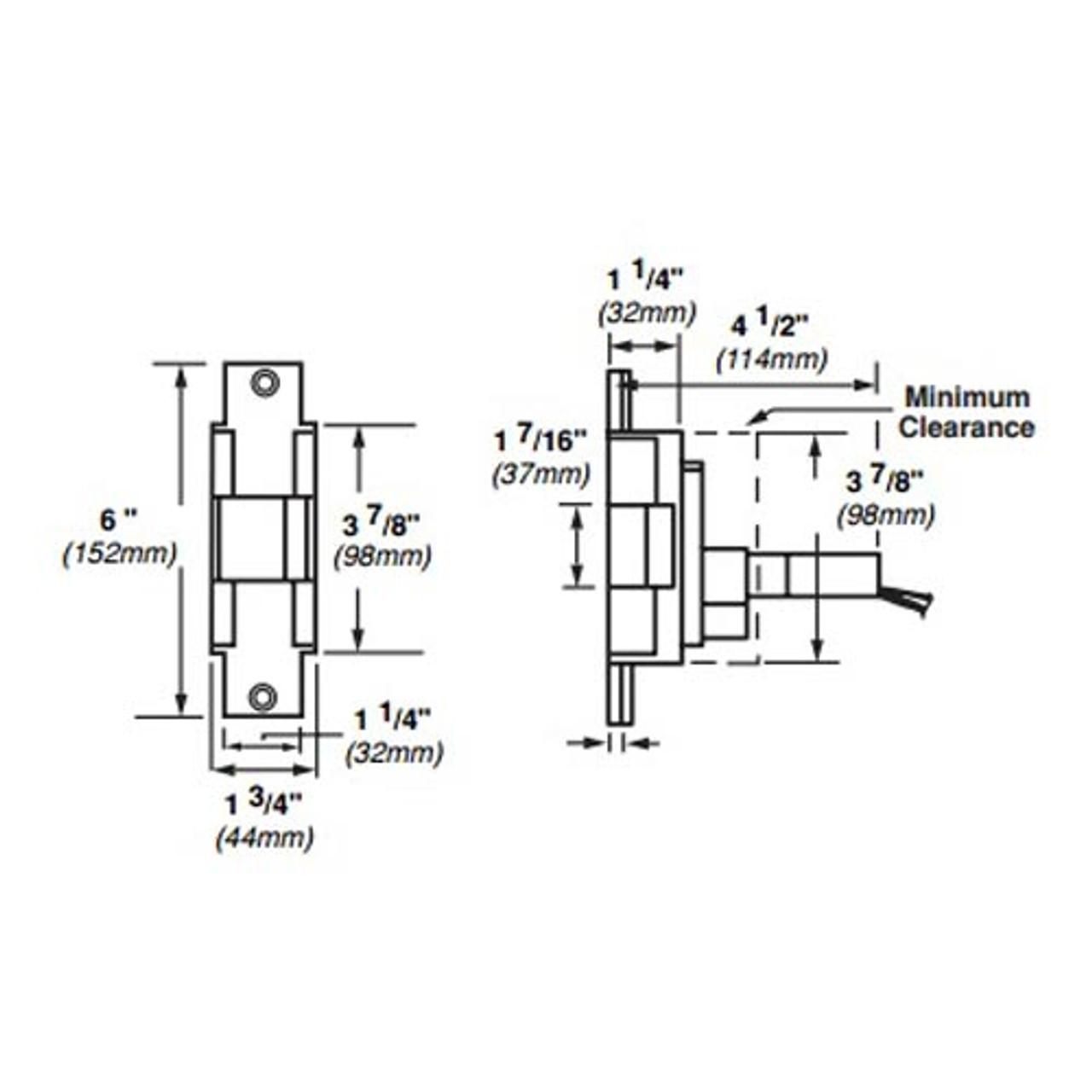 6221-24VDC-US10B Von Duprin Electric Strike for Mortise or Cylindrical Locksets in Dark Bronze Finish