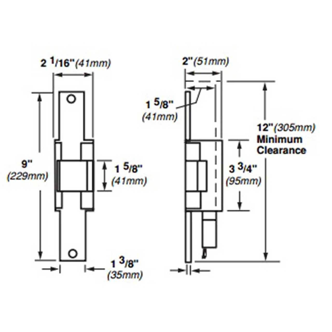 6222-FS-DS-LC-12VDC-US4 Von Duprin Electric Strike for Mortise or Cylindrical Locksets in Satin Brass Finish