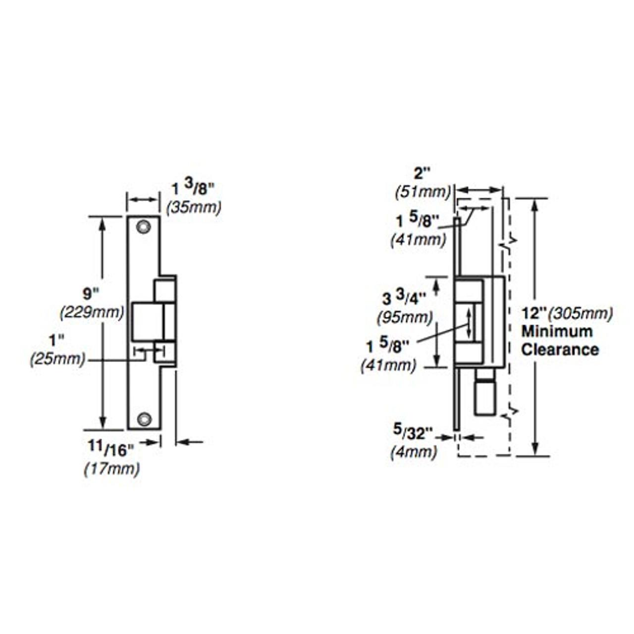 6214-12VDC-US4 Von Duprin Electric Strike for Mortise or Cylindrical Locksets in Satin Brass Finish