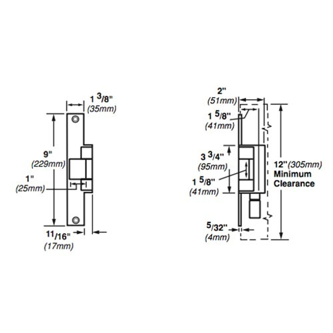 6214-FS-DS-12VDC-US32 Von Duprin Electric Strike for Mortise or Cylindrical Locksets in Bright Stainless Steel Finish