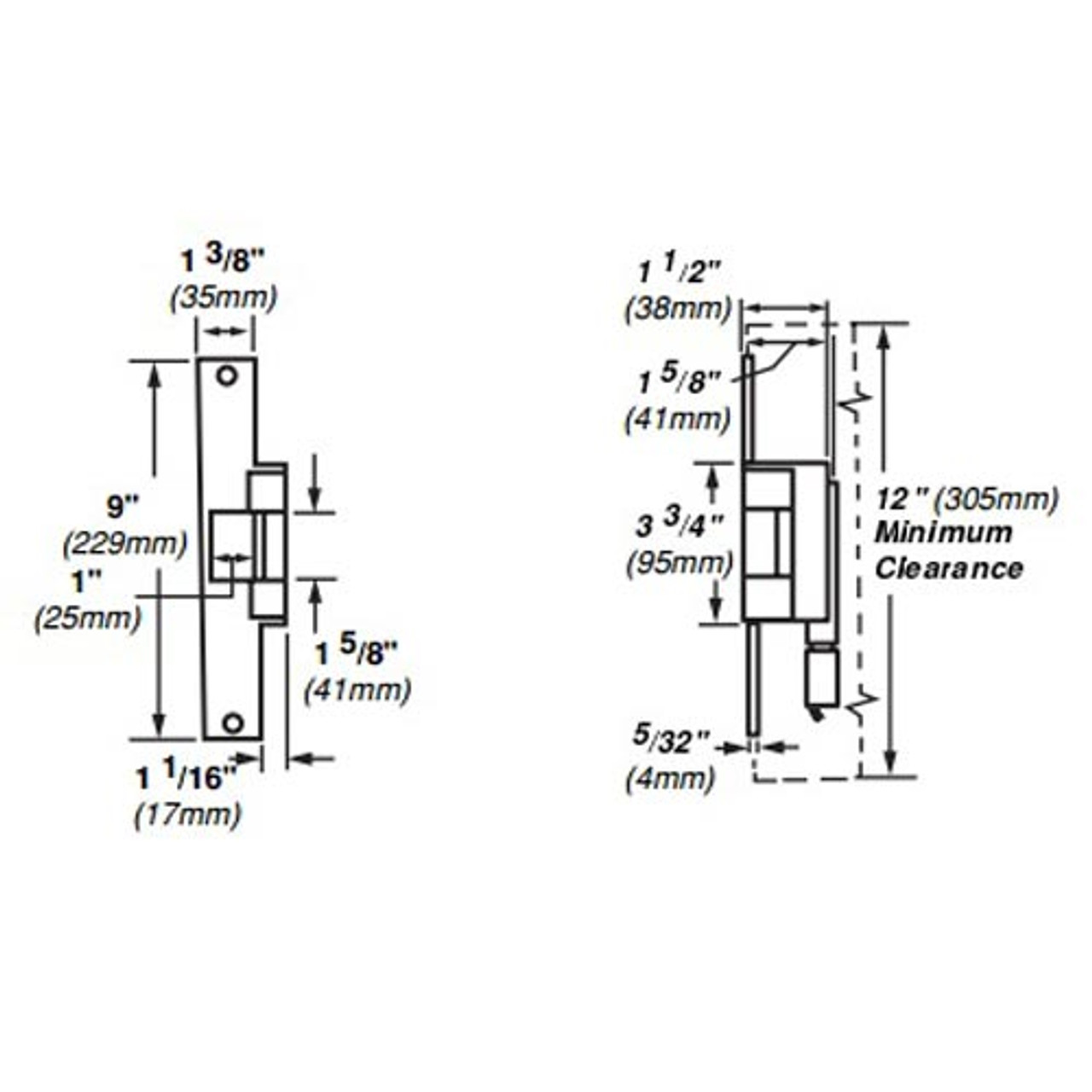 6215-FS-DS-LC-12VDC-US3 Von Duprin Electric Strike for Mortise or Cylindrical Locksets in Bright Brass Finish