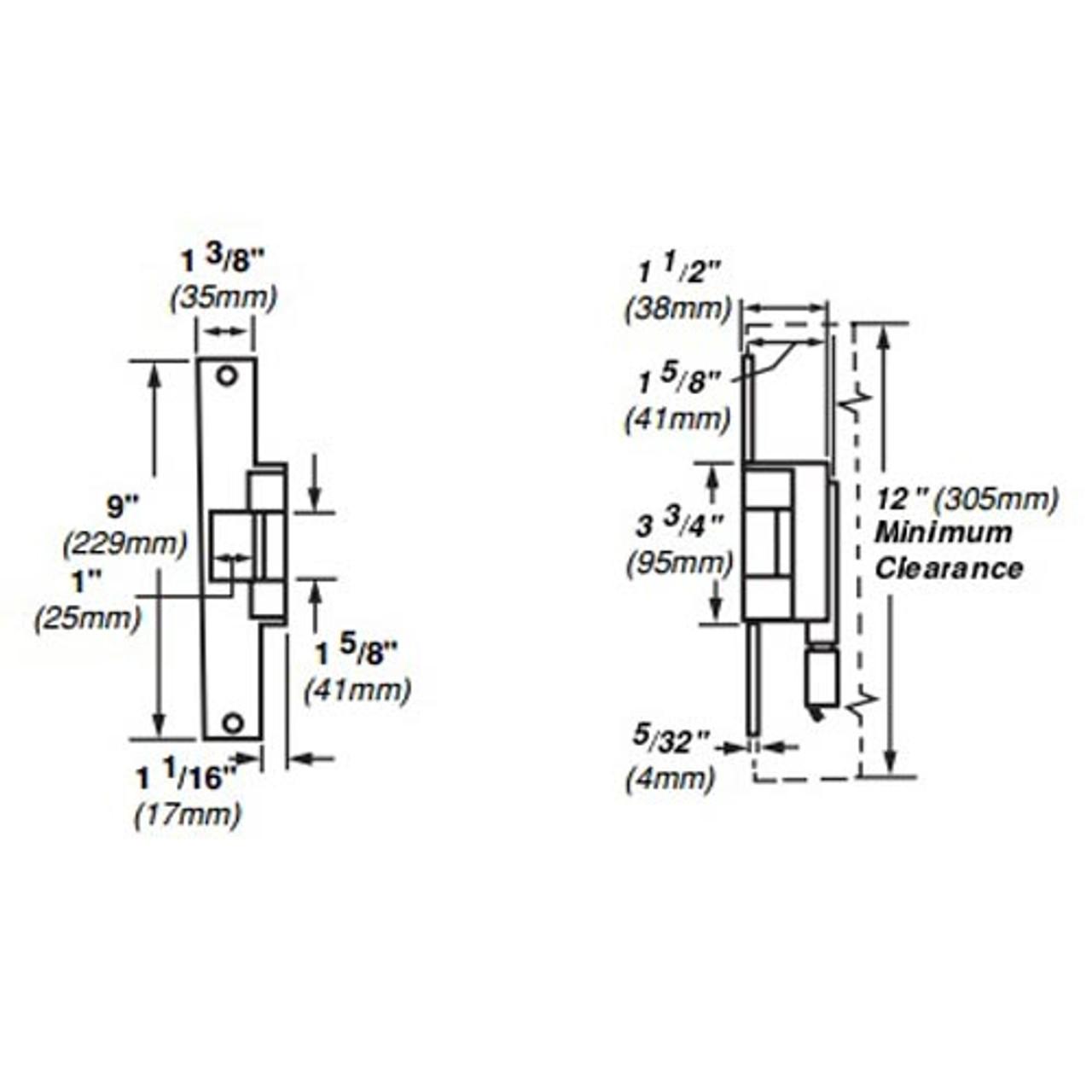 6215-FS-24VDC-US10 Von Duprin Electric Strike for Mortise or Cylindrical Locksets in Satin Bronze Finish