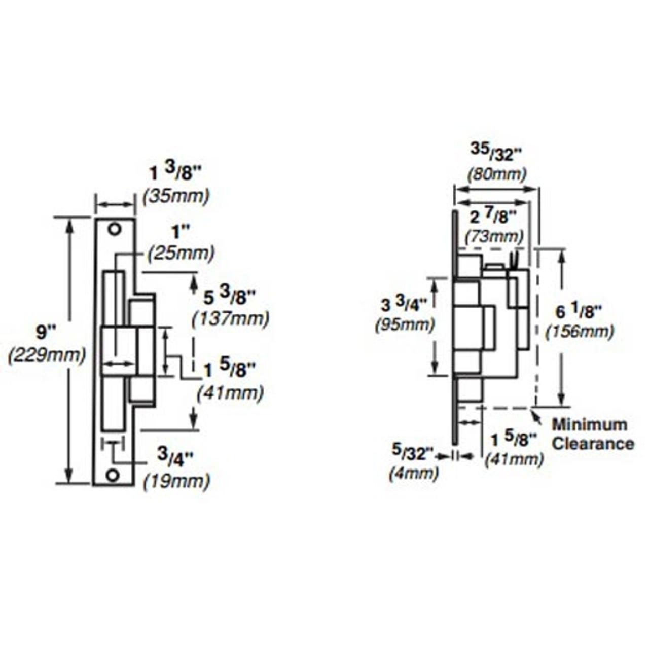 6216-FS-DS-LC-12VDC-US3 Von Duprin Electric Strike for Mortise Locksets in Bright Brass Finish