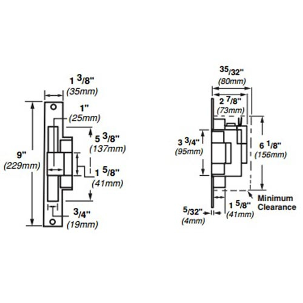 6216-FS-DS-LC-24VDC-US32 Von Duprin Electric Strike for Mortise Locksets in Bright Stainless Steel Finish