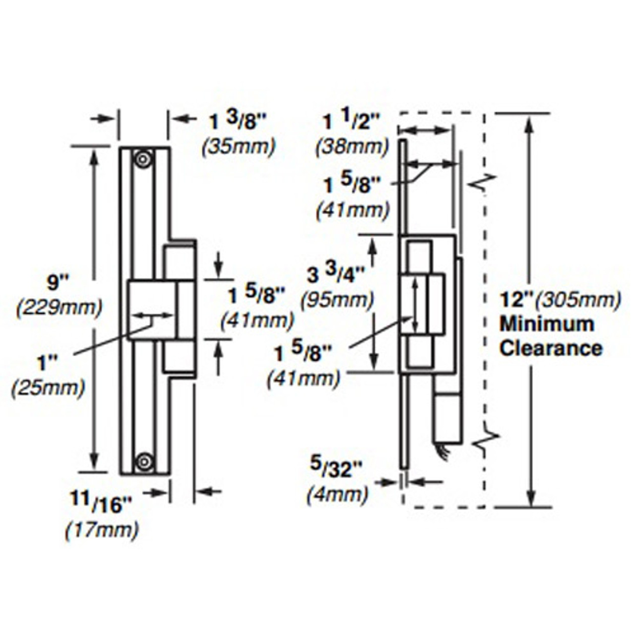 6224AL-12VDC-US32 Von Duprin Electric Strike for Mortise or Cylindrical Locksets in Bright Stainless Steel Finish