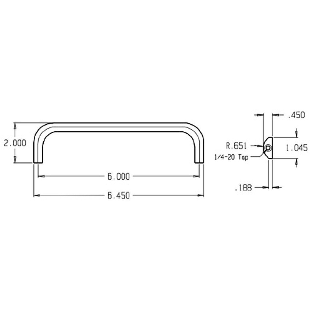 37-605 Don Jo Half Round Door Pull with 6 inch center to center length