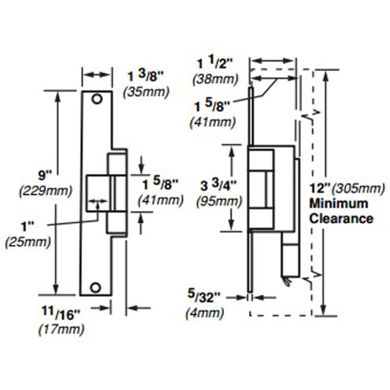 6226-DS-LC-12VDC-US32D Von Duprin Electric Strike for Mortise or Cylindrical Locksets in Satin Stainless Steel Finish