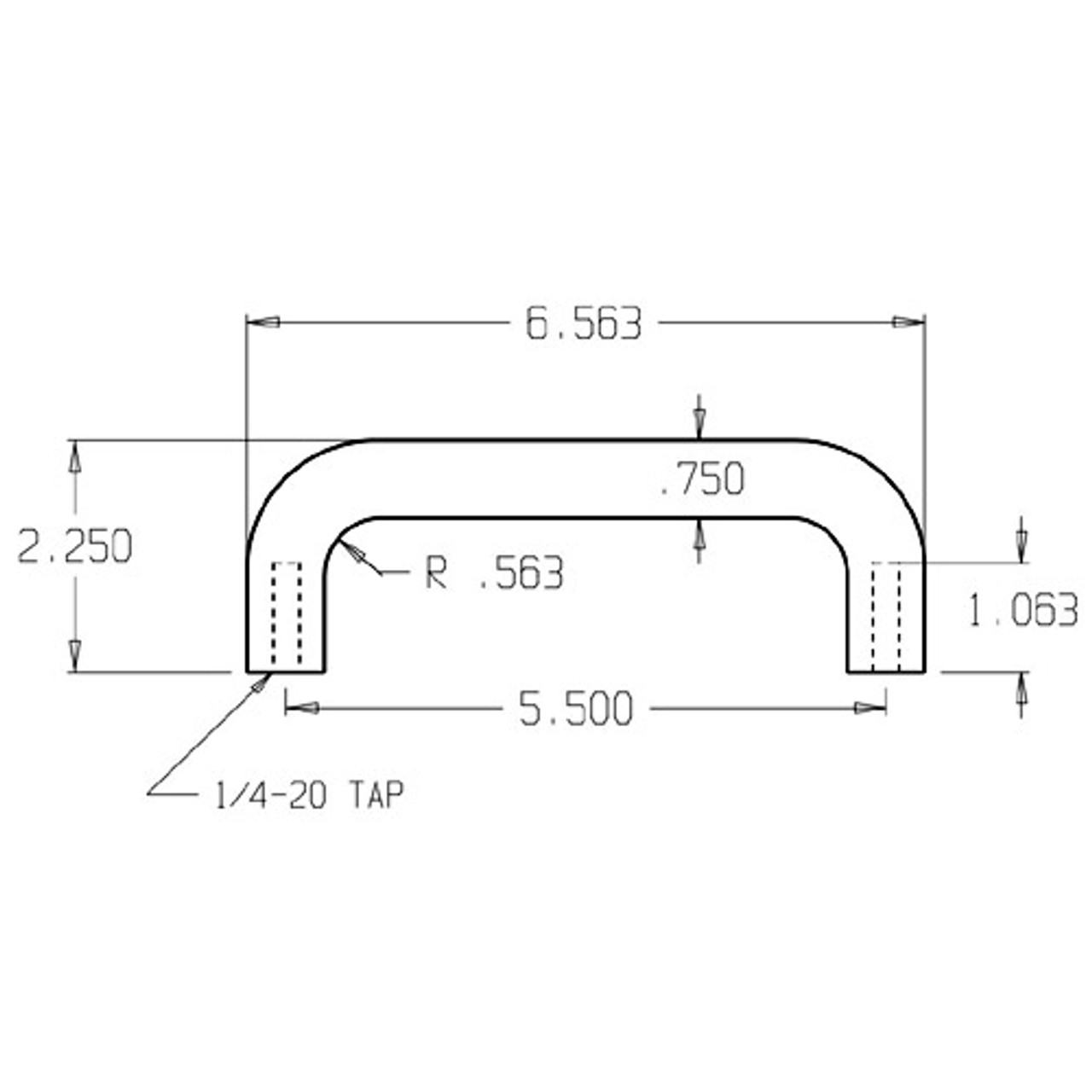 """14-629 Don Jo 3/4"""" Round Door Pull with 5 1/2"""" center to center length"""