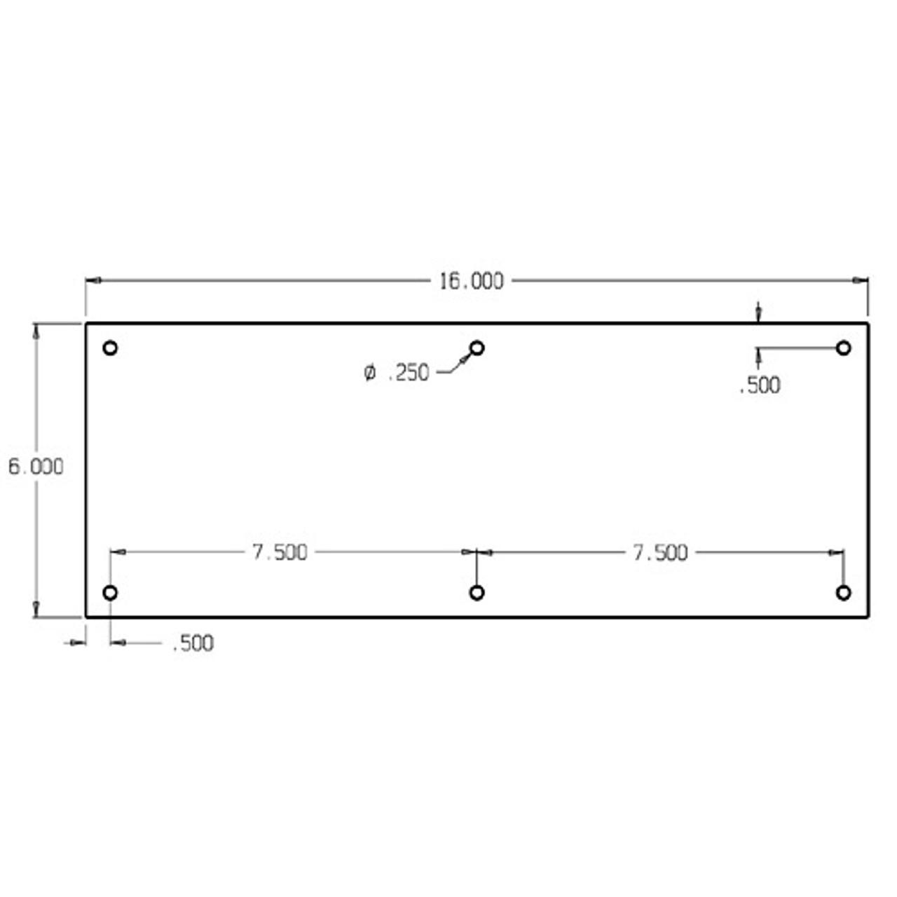 "72-606 Don Jo 0.50 Push Plate in 6 X 16"""