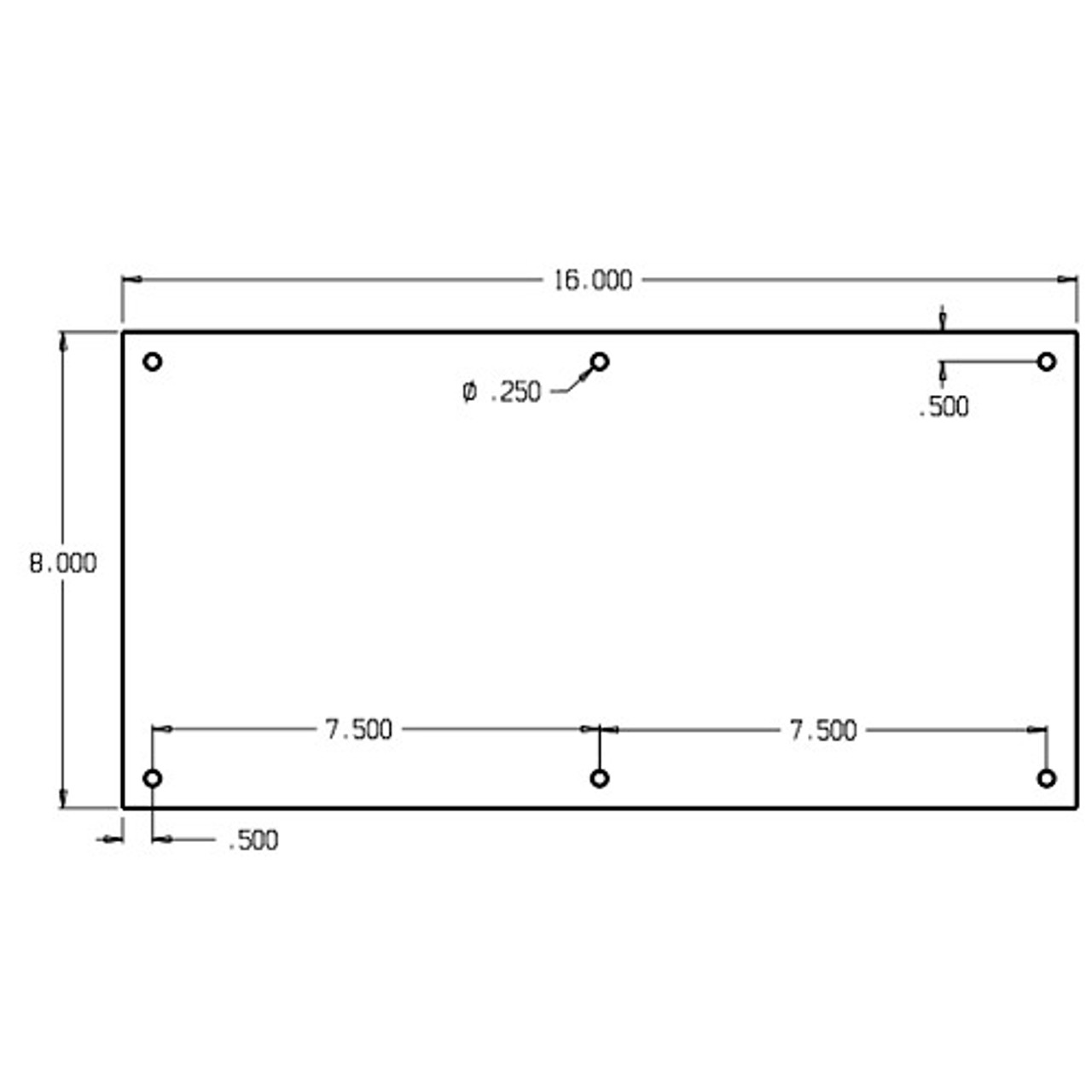 "73-612 Don Jo 0.50 Push Plate in 8 X 16"""