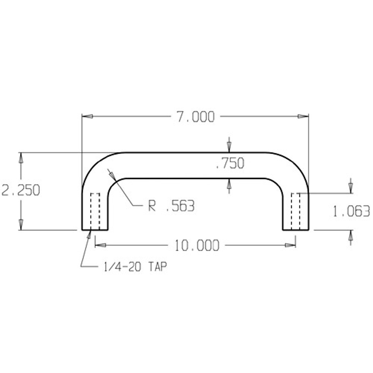 """17-606 Don Jo 3/4"""" Round Door Pull with 10"""" center to center length"""