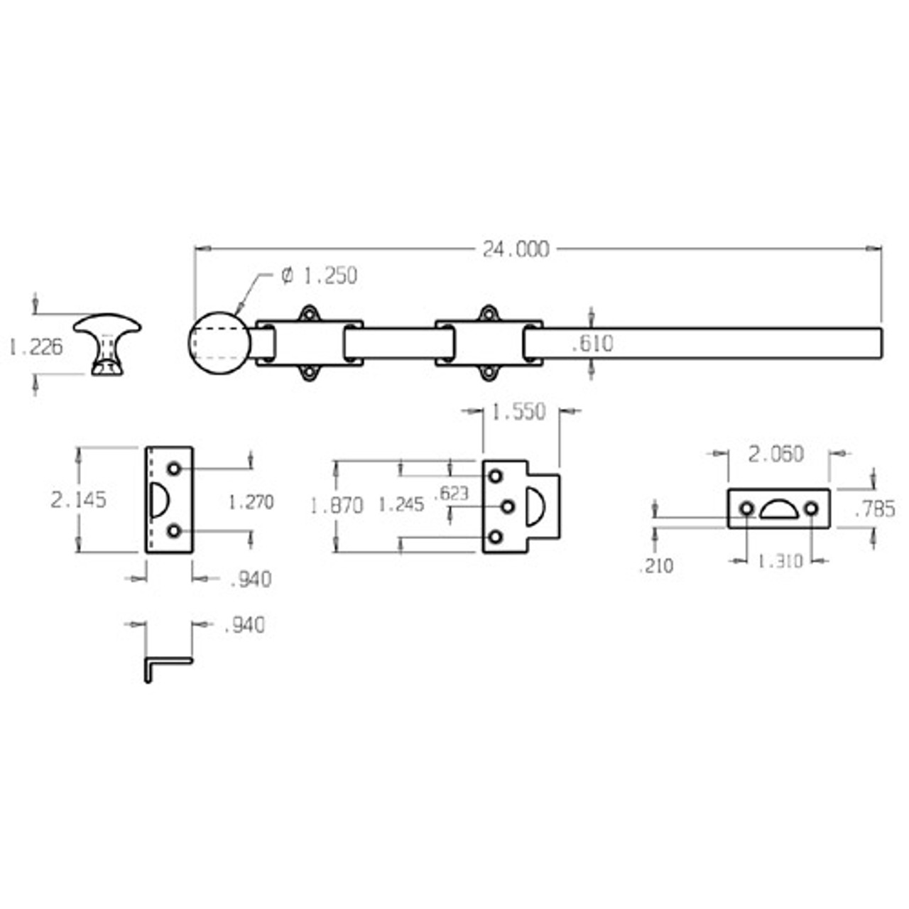 """1638-620 Don Jo Dutch Door Bolt with size of 18 x 1 5/8"""" (inches)"""