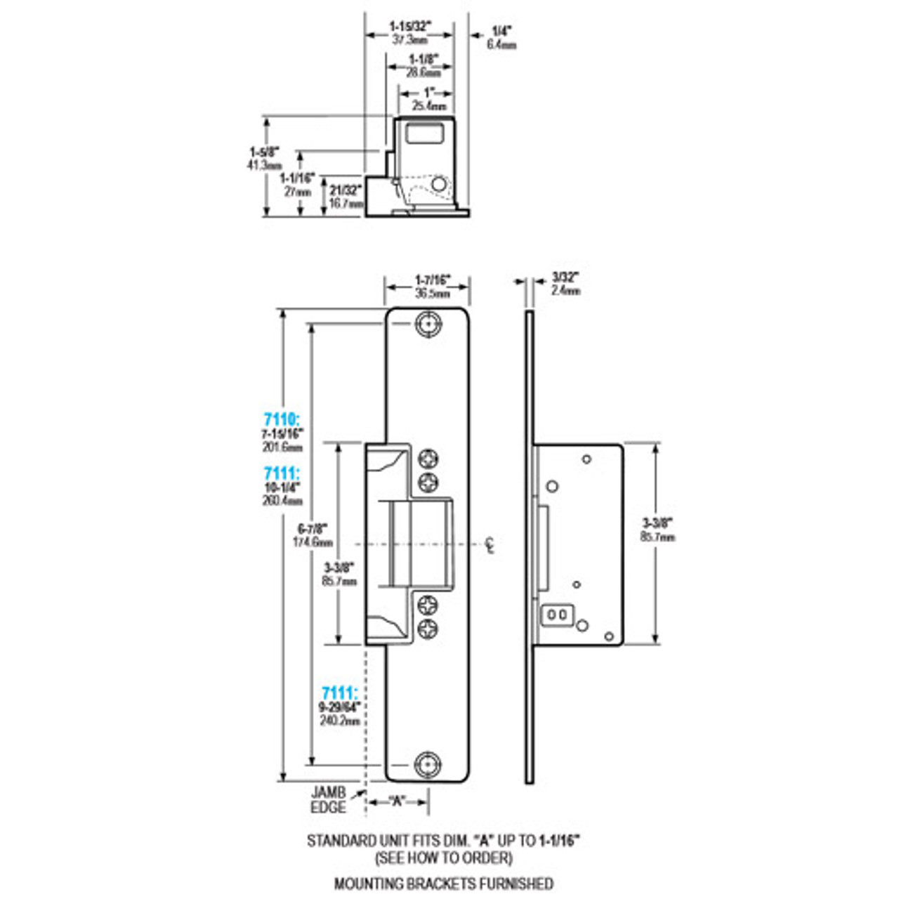 7110-540-652 Adams Rite Electric Strike 24VAC Fail Secure in Satin on